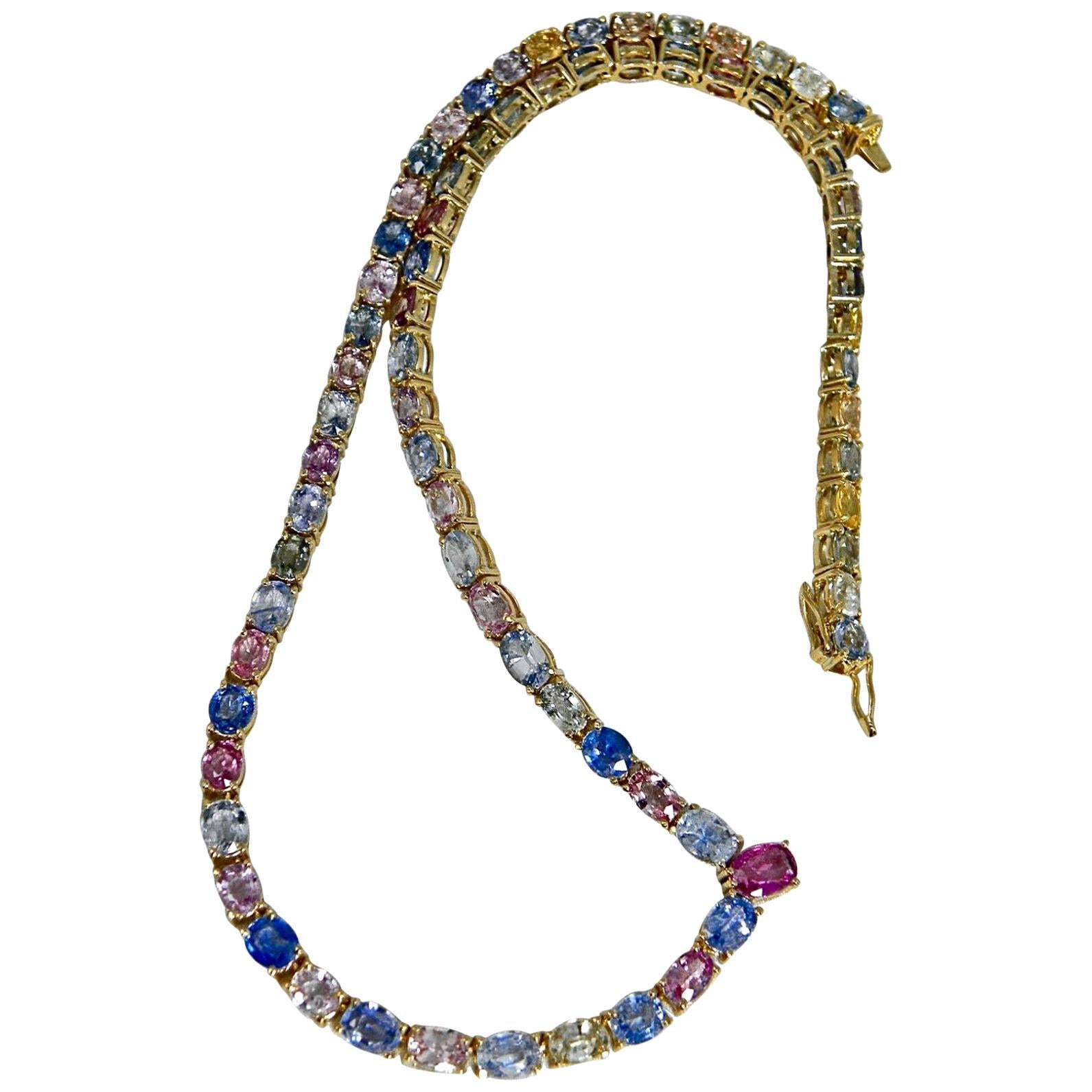 Yellow Gold Drop Necklace Nat Unheated Blue/Pink/Yellow Sapphire  50.00 Carat