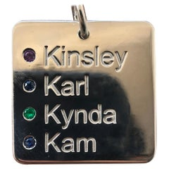 Custom Name Dog Tags with Birthday and Birthstones 14 Karat White Gold