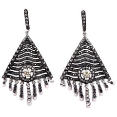 Sethi Couture 3.44 Carat Black and White Diamond Tassel Earrings 18 Karat Gold