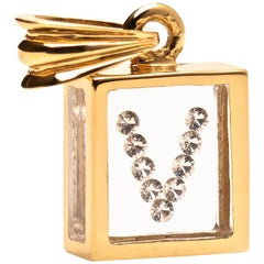 Incogem Floating Diamond Pendant 14 Karat Yellow Gold 'Letter V'