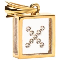 Incogem Floating Diamond Pendant 14 Karat Yellow Gold 'Letter X'