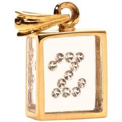 Incogem Floating Diamond Pendant 14 Karat Yellow Gold 'Letter Z'