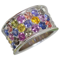 4.76 Carat Multi Vivid Color Sapphire Thick Band Ring, Ben Dannie