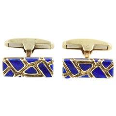 Geometric Blue Enamel and Gold Cufflinks