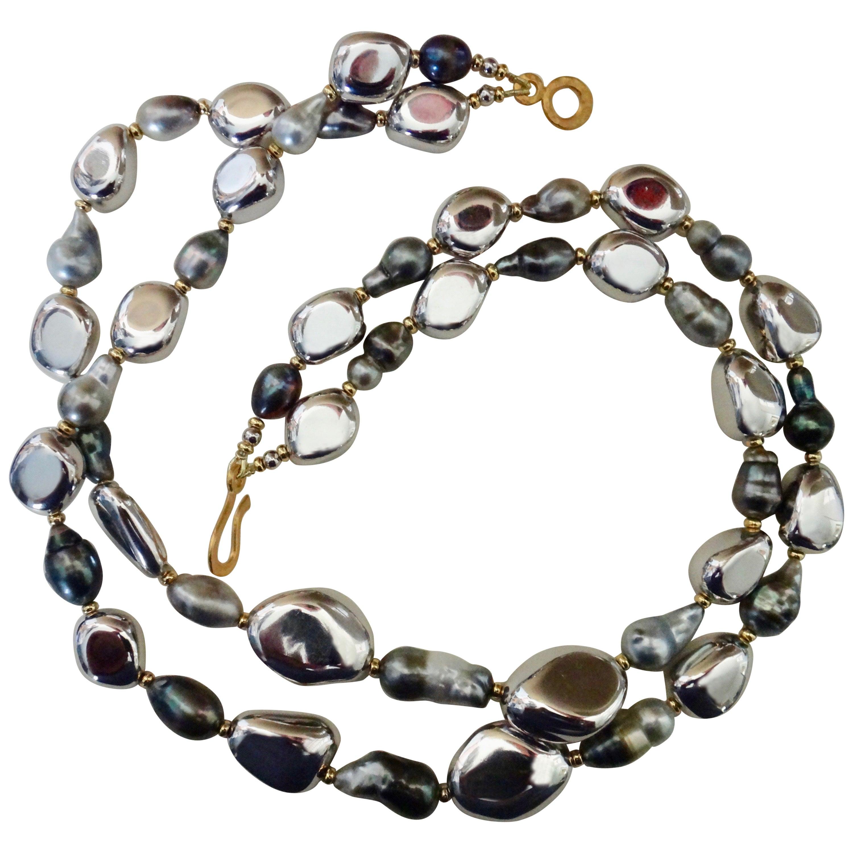 Michael Kneebone Double Strand Baroque Tahitian Pearl Pebble Bead Necklace