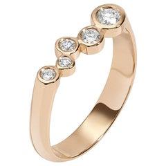 0.27 Carat White Diamond 14 Karat Yellow Gold Bar Ring