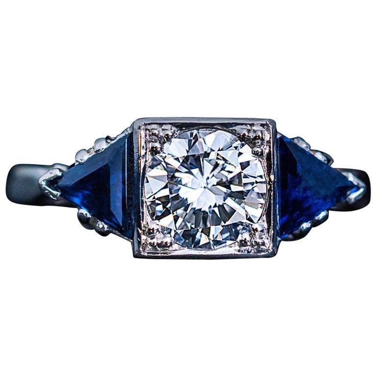 Art Deco Diamond Triangle Sapphire Platinum Engagement Ring For Sale