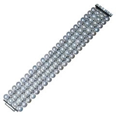 Art Deco Cultured Pearl Diamond Gold Cuff Bracelet