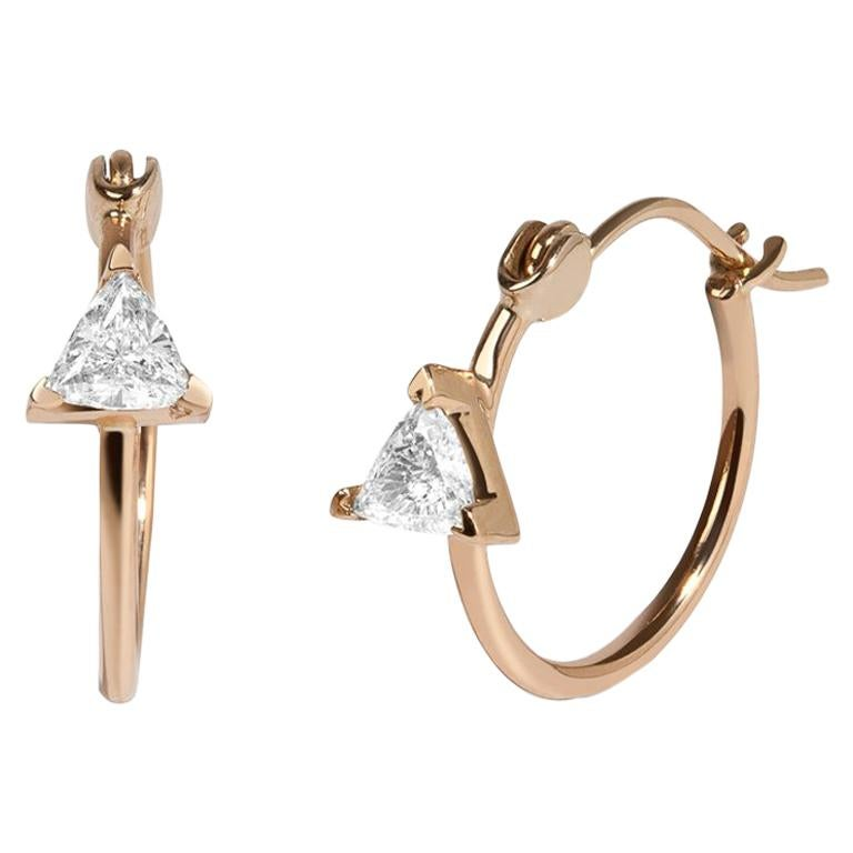 White Trillion Diamond 0.46 Carat 14 Karat Yellow Gold Hoop Earrings
