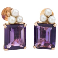 Vintage Amethyst Cultured Pearl Earrings 14 Karat Gold Emerald Cut Jewelry