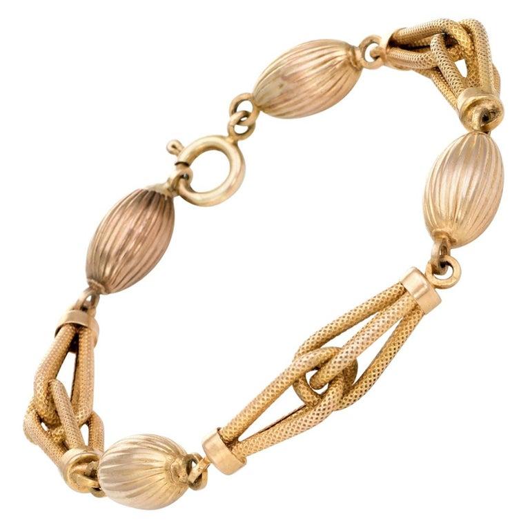 Textured Gold Link Bracelet Vintage 9 Karat Yellow Gold Fine Jewelry