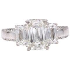 Christopher Designs Crisscut Three-Stone Diamond Engagement Ring 3.25 Carat