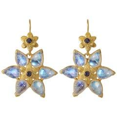 Emma Chapman Moonstone Iolite Gold Plate Earrings