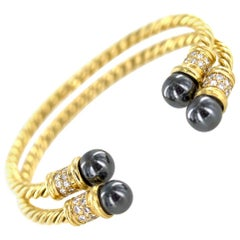 Diamond Hematite 18 Karat Yellow Gold Cable Cuff Bracelet Set