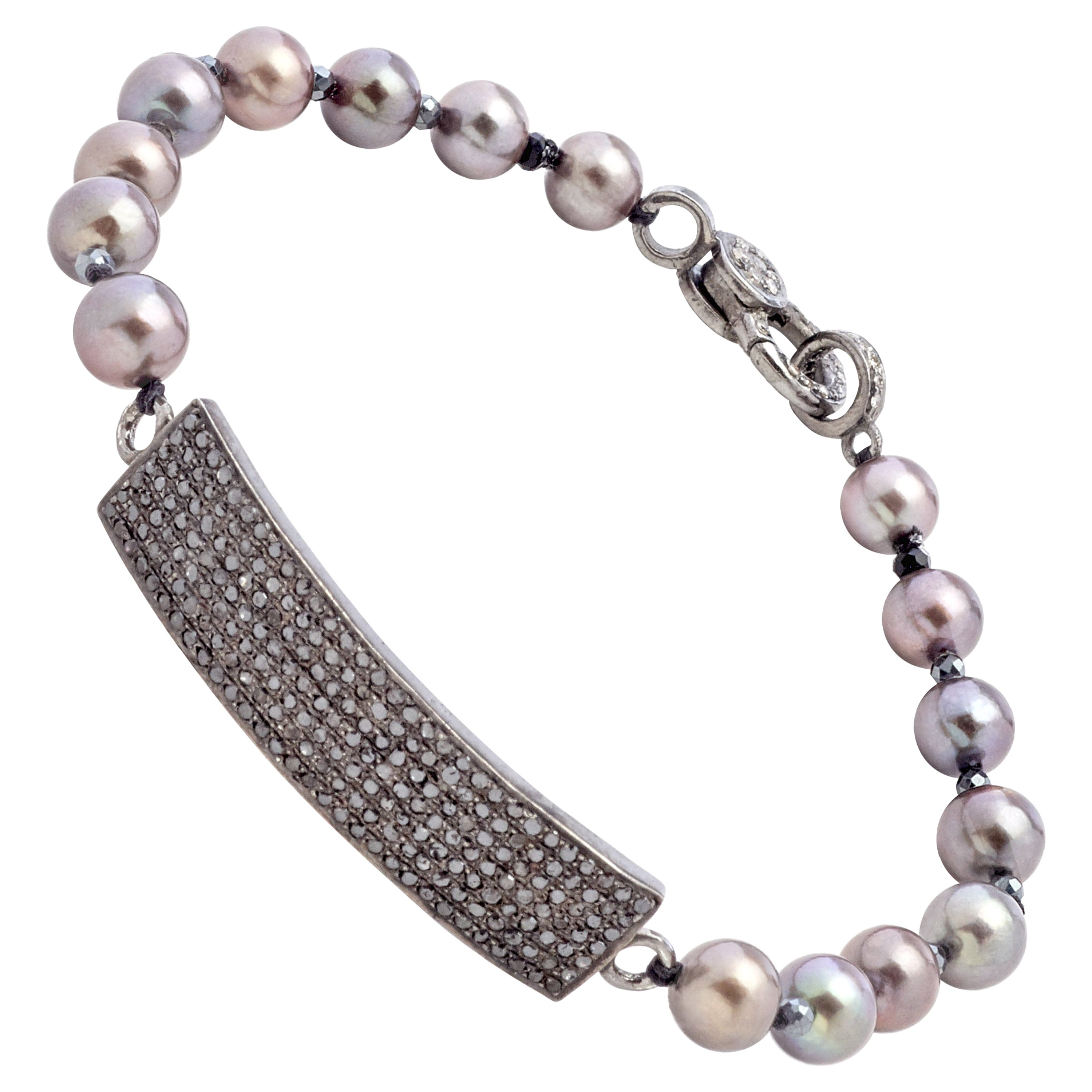 Black Diamond and Sterling Silver Bracelet with Gray Color Akoya Pearls