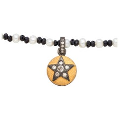 Diamond Sterling Silver Star Pendant Necklace with Black Spinel & Akoya Pearls