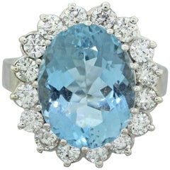 1960s Estate 14k White Gold Aquamarine VS Diamond Halo Cocktail Ring