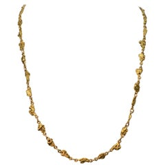 24 Karat Natural Yellow Gold Nugget Necklace
