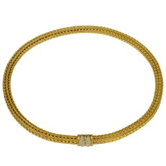 18 Karat Brushed Yellow Gold Woven Collar Necklace