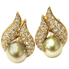18 Karat Yellow Gold and Diamond Earrings with Pistachio Pearls by Gumuchian