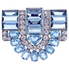 Cartier Aquamarine and Diamond Dress Clip Brooch