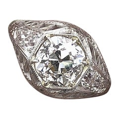 Art Deco Old Mine Cut Diamond Engagement Ring 2.26 Carat J VS1 circa 1930s Plat
