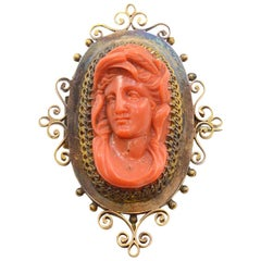 Victorian Solid 14 Karat Yellow Gold Coral Cameo Brooch and Pendant 19.0g