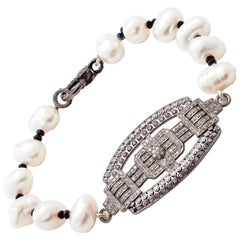 Sterling Silver & Diamond Placket Bracelet with Baroque Pearls & Black Spinel