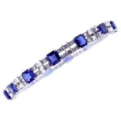 Double Row Sapphire and Diamond Bracelet