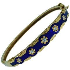Victorian Style Midnight Blue Enamel and Diamond Bangle Bracelet