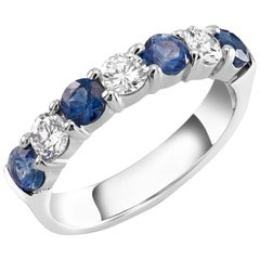 Platinum Diamond and Sapphire Weighing 1.30 Carat Partial Prong Set 7-Stone Ring