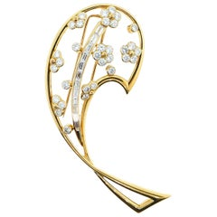 Boucheron 18 Karat Yellow Gold and Diamond Leaf Motif Brooch