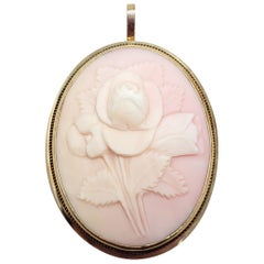 Vintage Angel Skin Coral Cameo Brooch/Pin and Pendant in 14 Karat Gold Bezel