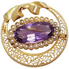 Antique Victorian Natural Amethyst & Seeded Pearl Brooch in 14KT Filigree Gold