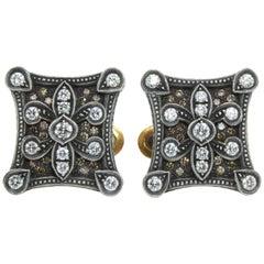 Diamond Silver and Gold Cufflinks