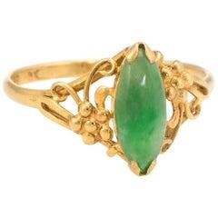 Vintage Jade Ring Vintage 18 Karat Yellow Gold Navette Mount Small Cocktail Ring