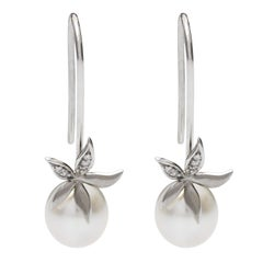 0.06 Carat White Diamond Drop South Sea Pearl Flower Earrings