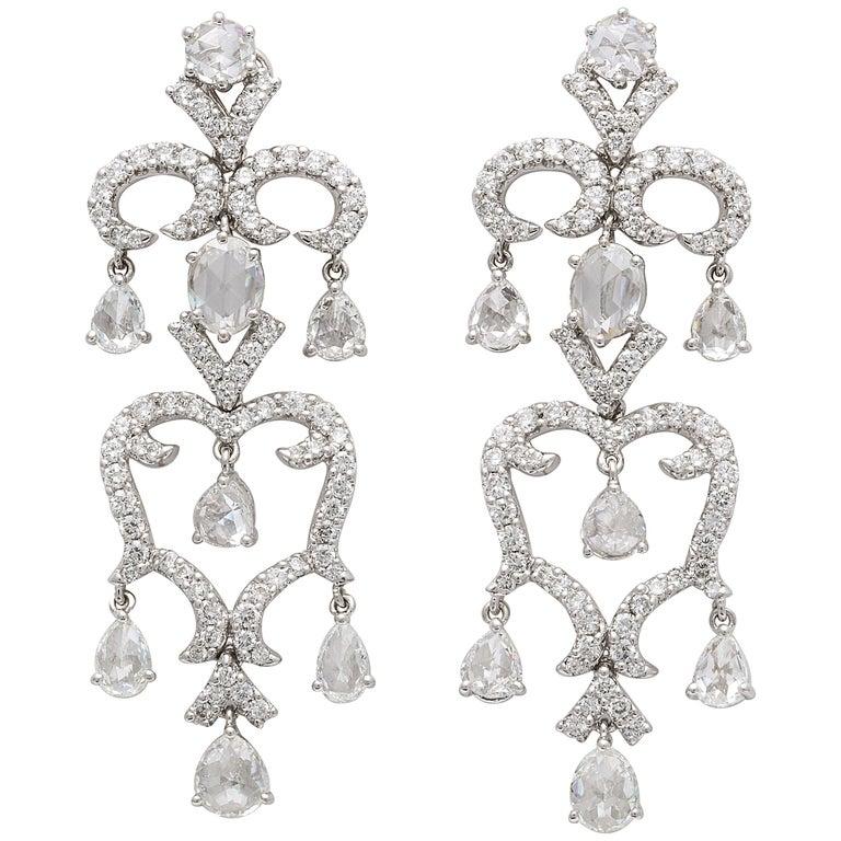 White Gold, Diamond and Rose Cut Diamond Chandelier Earrings