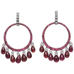 White Gold, Diamond and Pink Tourmaline Briolette Earrings