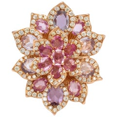 Rose Gold, Multi-Color Sapphire and Diamond Cocktail Flower Ring