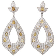 White Gold, Diamond, Natural Fancy Yellow Rose-Cut Diamond Ear Pendant Earrings