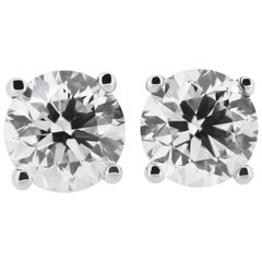 GIA Certified Solitaire Stud Round Diamond Earrings 2.01 & 2.03 cts each F VS2