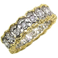 18kt and 0.90ct Diamond Hand Engraved Eternity Band, Handmade in Florence, Italy