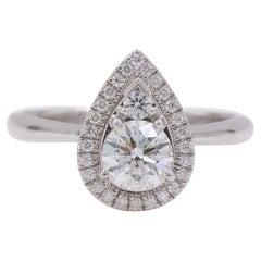 Hearts on Fire Destiny Teardrop Shape Halo Engagement Ring Round 0.88 Carat