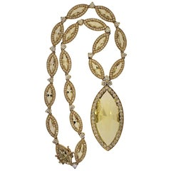 18 Karat Yellow Gold, Yellow Quartz and Diamond Necklace
