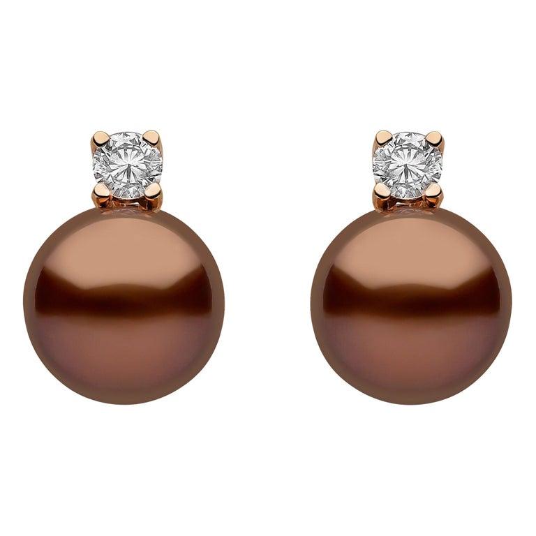 Yoko London Chocolate Tahitian Pearl and Diamond Earrings Set in 18 Karat Gold For Sale