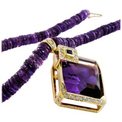 18 Karat Yellow Gold, Amethyst Necklace