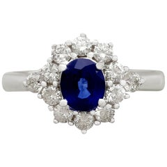 1.21 Carat Sapphire and Diamond White Gold Cocktail Ring