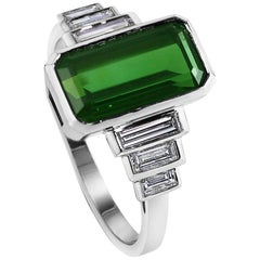 Kata 4.1ct Green Tourmaline and Baguette Diamond Art Deco Style Ring 18K White