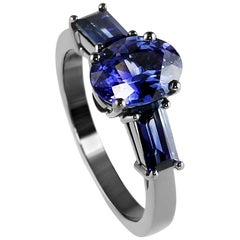 Kata Unique Oval & Baguette Sapphire Three Stone Trilogy Ring with Black Rhodium